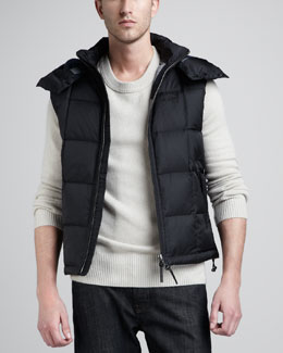 Burberry Brit Hooded Puffer Vest & Check-Patch Cashmere Sweater