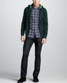 Burberry Brit Jersey Zip Hoodie, Plaid Button-Down Shirt & Slim Dark Jeans