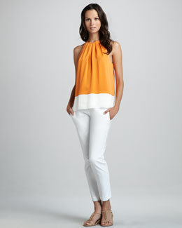 Theory Milka C. Colorblock Blouse & Sienna Stretch Trousers