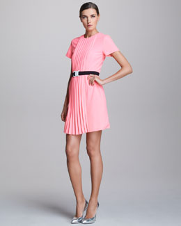 Christopher Kane Pleat-Front Dress & White Buckle Safety Belt