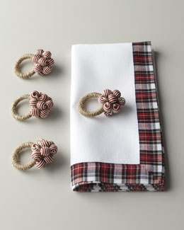 Juliska Red Tartan Table Linens & Napkin Rings