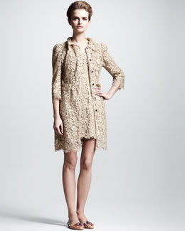 Dolce & Gabbana Lace Coat & Cap-Sleeve Dress