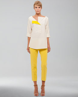 Akris punto Silk-Cotton Blouse & Cropped Pants