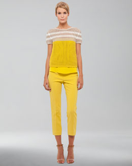 Akris punto Cotton Crochet Sweater & Cropped Pants
