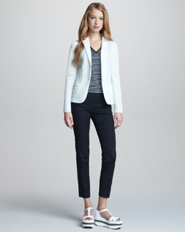 Jil Sander Navy Sporty Mesh-Weave Jacket, Sleeveless Striped Tank & Narrow-Leg Trousers