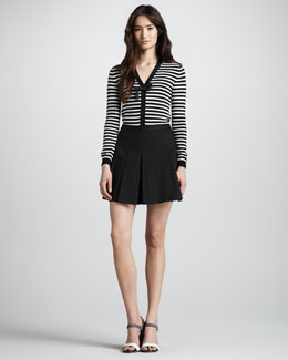 Jil Sander Navy Striped Cardigan & Pleated Skort