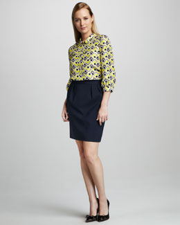 kate spade new york felicity deco-print blouse & barry stretch-cotton skirt
