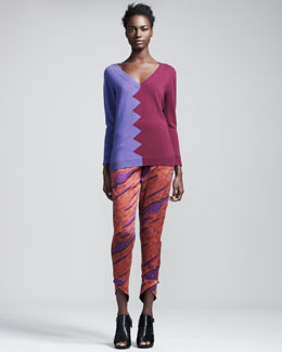 Kelly Wearstler Slither Colorblock Sweater & Spear Printed Silk Pants