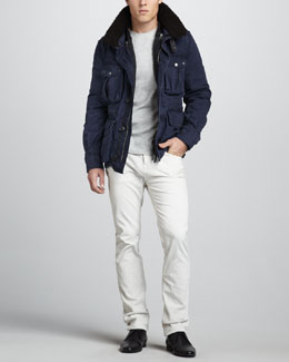 Burberry Brit Shearling-Collar Bomber Jacket & Slim Corduroy Pants