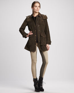 Burberry Brit Leather-Trim Anorak & Skinny Power-Stretch Riding Pants