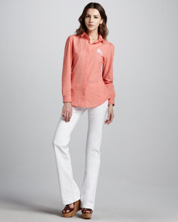 Burberry Brit Striped Cotton Shirt & Power-Stretch Boot-Cut Jeans