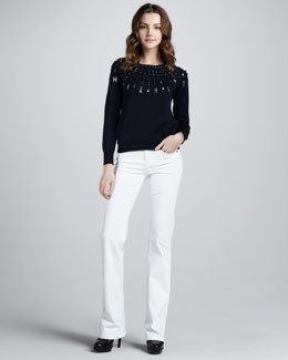 Burberry Brit Studded Sweatshirt & Power-Stretch Boot-Cut Jeans
