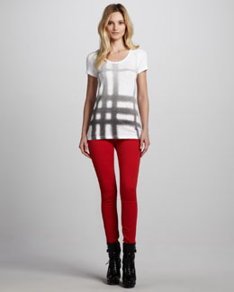 Burberry Brit Ombre Exploded-Check Tee & Skinny Brushed Twill Pants