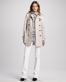 Burberry Brit Lightweight Leather Trenchcoat, Check Two-Pocket Blouse & Power-Stretch Boot-Cut Jeans