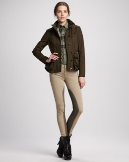 Burberry Brit Stretch-Cotton Peplum Jacket, Crinkled Check Blouse & Skinny Power-Stretch Riding Pants