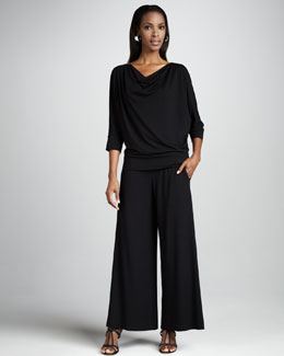 Eileen Fisher Draped Jersey Wedge Top & Wide-Leg Jersey Pants