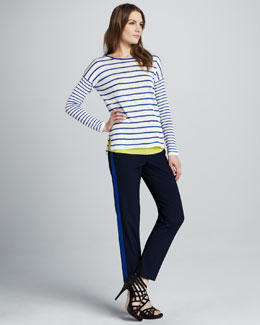 Vince Striped Knit Sweater, Favorite Tank & Contrast-Stripe Pants