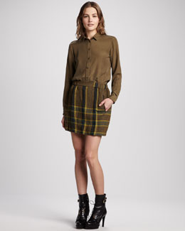 Burberry Brit Washed Silk Blouse & Check Linen Skirt