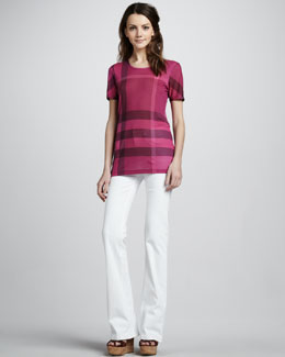 Burberry Brit Exploded-Check Tee & Power-Stretch Boot-Cut Jeans
