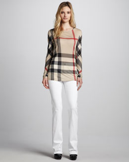 Burberry Brit Exploded-Check Long-Sleeve Tee & Power-Stretch Boot-Cut Jeans