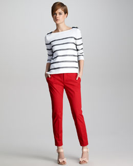 RED Valentino Lace-Stripe Knit Top & Stretch-Gabardine Ankle Pants