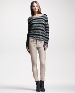Rag & Bone Palermo Striped Sweater & Skinny Nude Leather Pants
