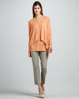 Lafayette 148 New York High-Low Melange Cardigan, Long Tank & Cropped Bleecker Pants