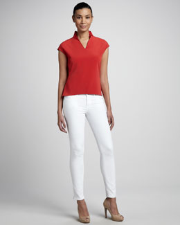Elie Tahari Deidre Power-Stretch Jeans & Bonnie Ruffle Blouse