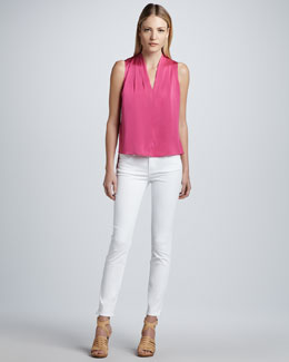 Elie Tahari Shira Stretch-Silk Blouse & Deirdre Power-Stretch Jeans