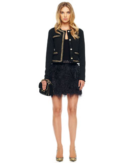 MICHAEL Michael Kors  Chain-Trim Jacket & Ostrich-Feather Skirt