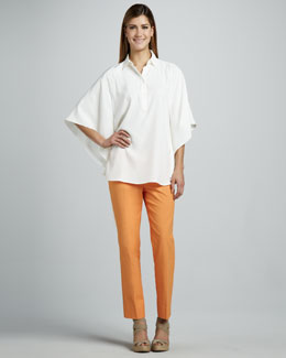 Lafayette 148 New York Jasmine Silk Top & Cropped Bleecker Pants