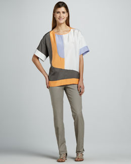 Lafayette 148 New York Kensington Boxy Colorblock Top & Cropped Bleecker Pants