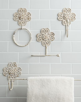 Antiqued-White Iron Bath Accessories