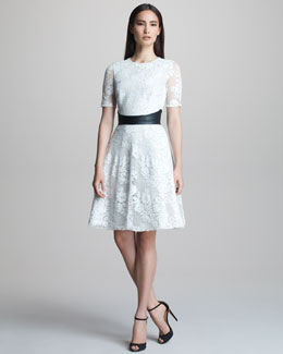 Monique Lhuillier Lace Fit-and-Flare Dress & Smooth Leather Belt