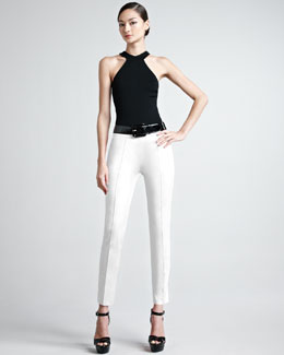 Ralph Lauren Black Label Cutaway Knit Top & Sateen Pants