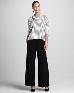 Eileen Fisher Striped Melange Slub Top & Washable Stretch Jersey Wide-Leg Pants, Women's