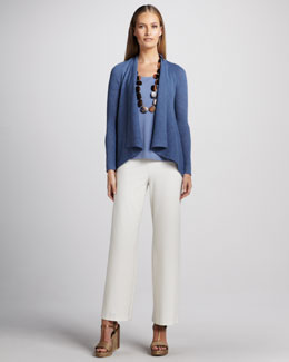 Eileen Fisher Shawl-Collar Cardigan, Jersey Tank & Washable Wide-Leg Crepe Pants, Petite