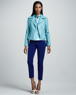 Elie Tahari Mia Leather Jacket, Octavia Satin Blouse & Jenny Cropped Pants