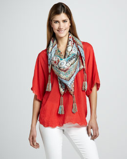 Johnny Was Collection Lacey Rosey V-Neck Top & Cullen Silk Scarf, Women's