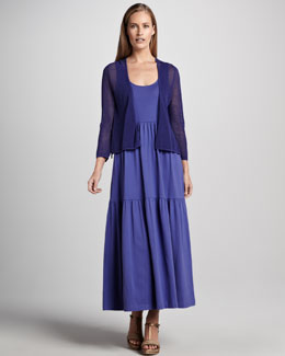 Joan Vass Mesh Cardigan & Tiered Long Tank Dress, Petite