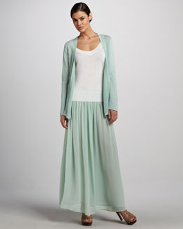 Adrienne Vittadini Open Knit Cardigan, Classic V-Neck Tank & Pleated Maxi Skirt