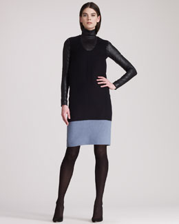 THE ROW Colorblocked Sleeveless Wool Dress & Long-Sleeve Leather Turtleneck