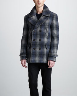 Burberry Brit Check Wool-Blend Pea Coat & Check-Patch Cashmere Sweater