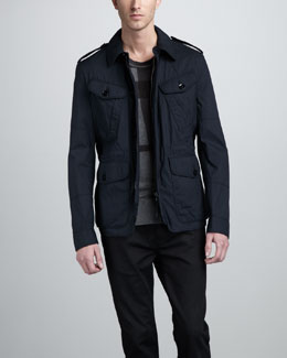 Burberry Brit Cotton-Nylon Field Jacket & Check Cotton-Cashmere Sweater
