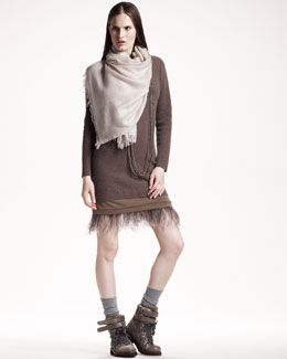 Brunello Cucinelli Ostrich-Hem Knit Dress & Metallic-Trim Scarf