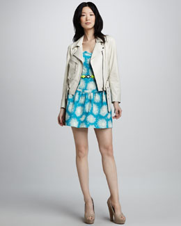Milly Leather Motorcycle Jacket & Claudia Printed Strapless Dress