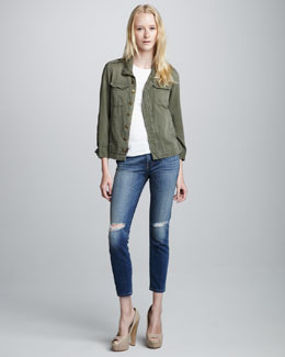 Current/Elliott The Battalion Jacket & Stiletto Distressed Jeans