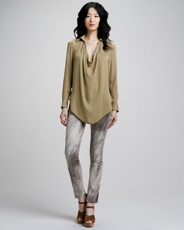 Haute Hippie Silk Cowl-Neck Blouse & Feather-Print Slim Jeans