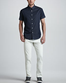 Theory Short-Sleeve Chambray Shirt & Raffi Bleached Jeans