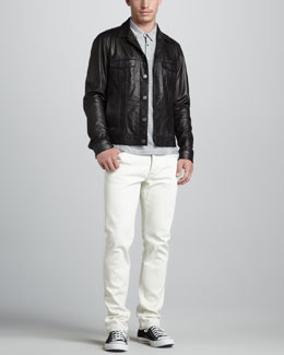 Theory Lambert Leather Jacket, Mini-Stripe Polo & Raffi Bleached Jeans